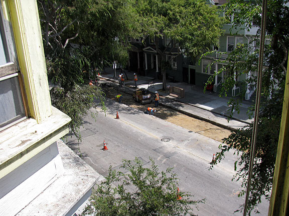 Here you can see the first lane removed, and the ground flattened and readied for the cement layer.