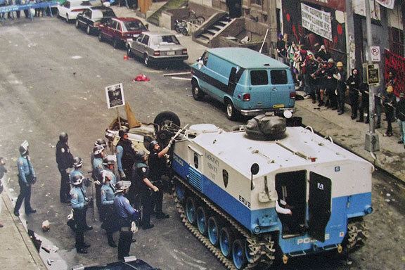 The 1995 eviction of the 13th Street squat, with its own armored personnel carrier!