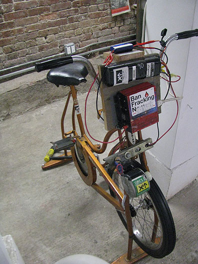 The original electricity generating stationary bike from Occupy Wall Street, provided by Times Up.