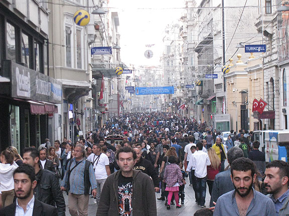 Typical scene on Istiklal in Istanbul, Turkey...