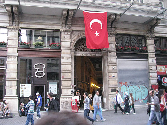 The front door of our building for Gifival, on Istiklal in Istanbul, Turkey.