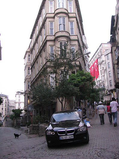 Istanbul is overwhelmed by cars; this one parked in an otherwise nice corner spot in a pedestrian zone.