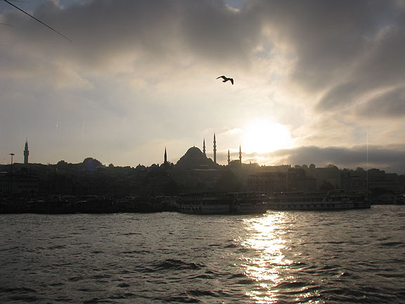 View across the Golden Horn at sunset, at Suleiman Mosque.