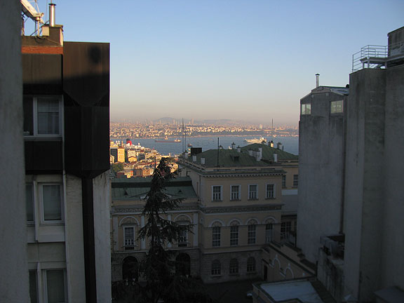 The view from our fourth floor window overlooking the Bosphorus...
