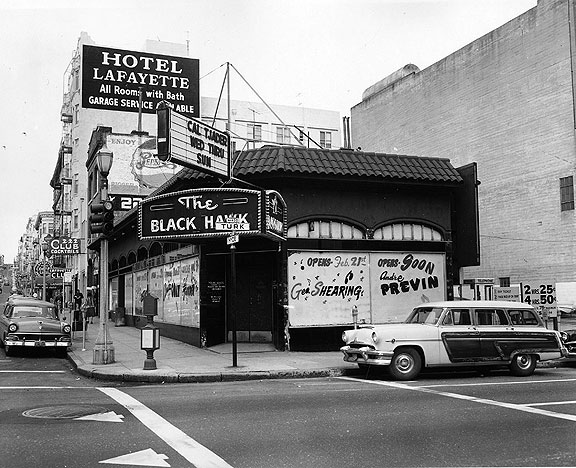 The famous Black Hawk jazz club at Turk and Hyde, 1961.