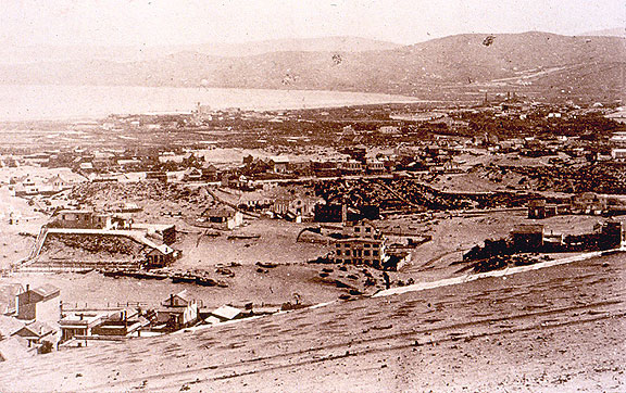 St. Ann's Valley, 1858, looking south across what would later become the Tenderloin and South of Market towards Mission Bay and Potrero Hill in the distance.