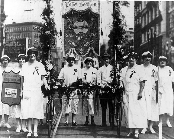 Waitress union marchers in 1925 labor day parade. Their offices were on Ellis Street in the Tenderloin.