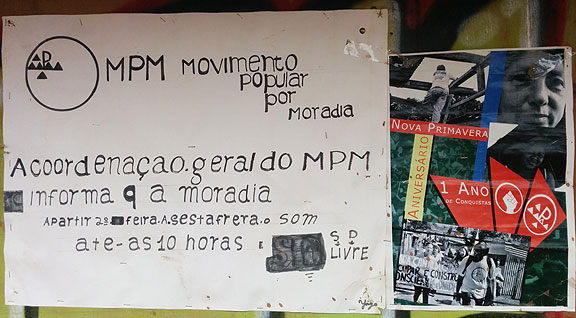 This flyer announces a meeting of the Movimento Popular por Moradia (Popular Movement for Housing) next to a flyer celebrating their one year anniversary.