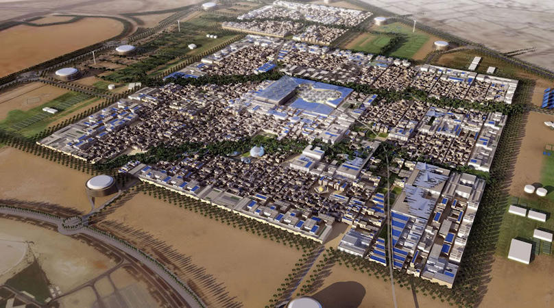 "Pictured above: A rendering of Masdar City, a ""smart city"" in the United Arab Emirates. By Forgemind ArchiMedia under a Creative Commons license from Flickr.com."