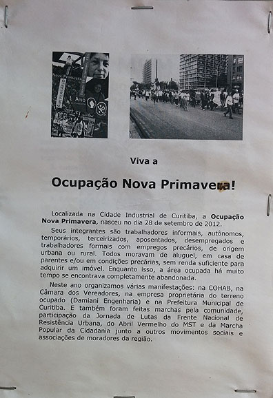 Flyer on the wall in Nova Primaveira explaining their occupation, highly politicized.
