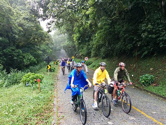 Riding through the rain deep in the forest on the Serra da Graciosa.