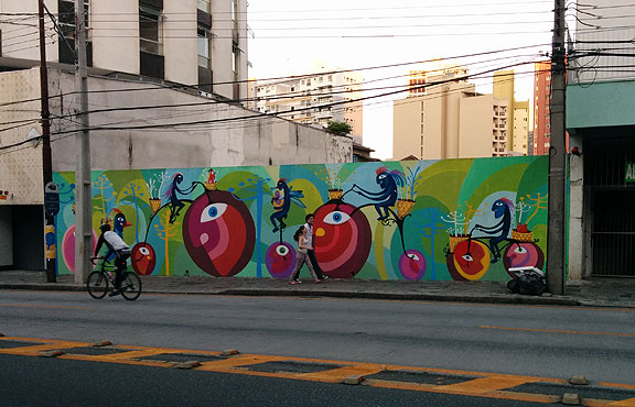 Tom Mais Amor's lovely mural a short distance from the Bicicletaria Cultural.