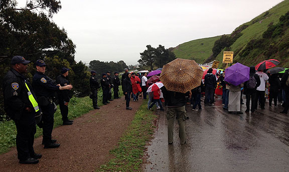 SF Police surround Alex Nieto memorial on Bernal Heights--outrageous effort to intimidate the mourners!