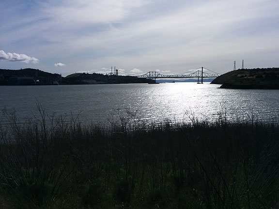 Carquinez Strait bridge between Vallejo and Crockett, viewed east to west.
