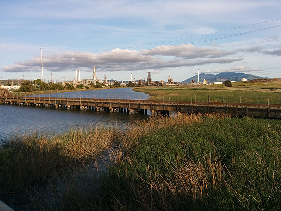 Turns out this was a dead-end on our ride, and we had to go back, but it was a sweet golden light moment with a great view of the refinery and Mt Diablo behind it.
