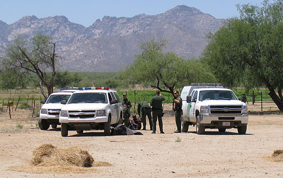 The Border Patrol showed up in a surprisingly short time and they were busted.