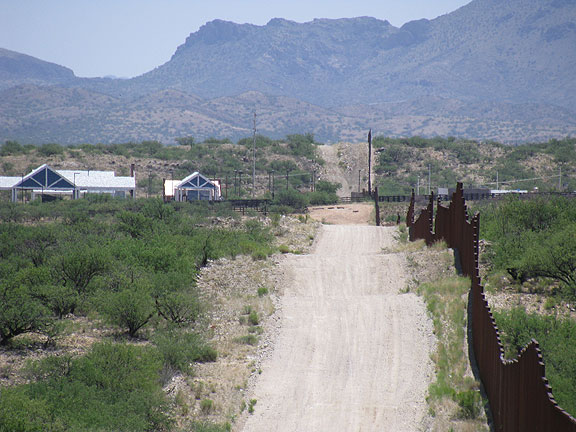 Ahead is the border crossing at Sasabe, Arizona, west of Nogales.