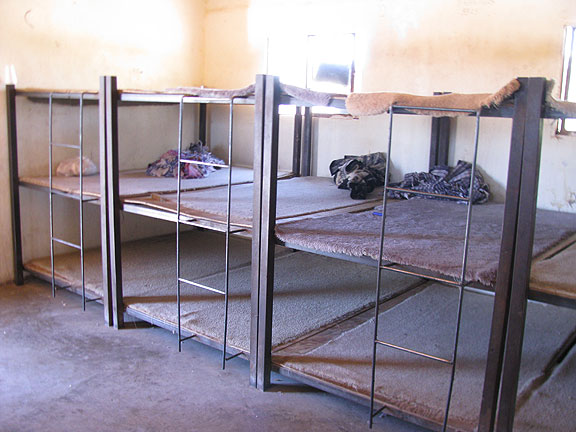 These are the bunks in one of the houses where migrants await their journey in Altar, Sonora.