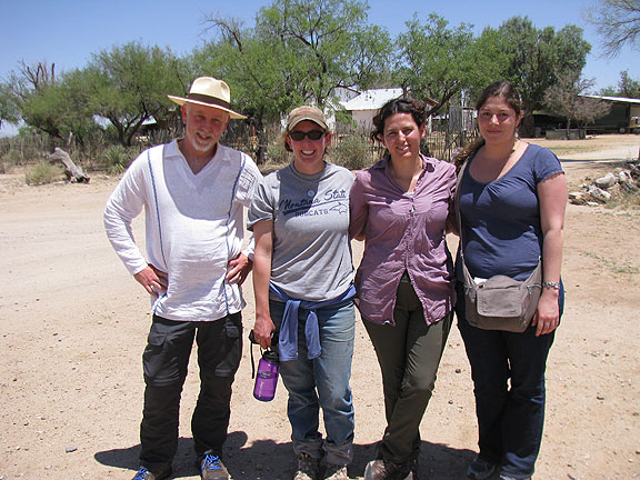 Here we are with Sarah, a rancher on the border who is working on riparian restoration projects on her land.