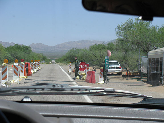 Checkpoint on the road towards the Mexican border.