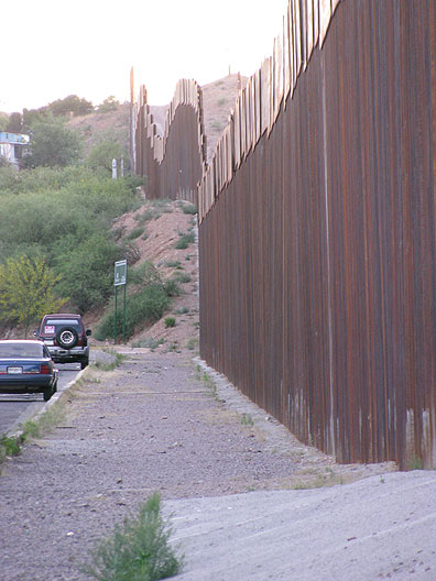 The border between the U.S. and Mexico in Nogales, Arizona (and Nogales, Sonora on the other side).