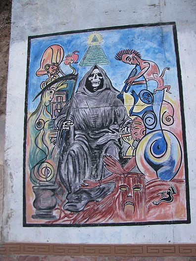 Mural of Santo Muerte on a fence in Altar.