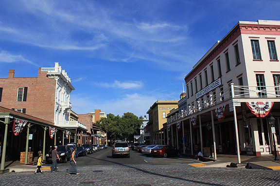 I had never bothered to visit Old Sacramento before, and though it's a bit like Fisherman's Wharf, I appreciated the small park where they showed the original level of the town, 9-12 feet below where the City Council mandated every property owner must raise his building to in 1865 (a couple of years after the worst floods in California history left Sacramento under 20 feet of water for weeks).