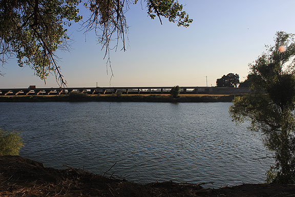 This is an impressive bit of hydrological engineering, the Sacramento Bypass, seen here from the Garden Highway on the opposite bank's levee.