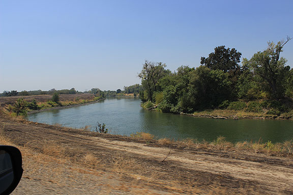 Sacramento River west of Sutter Buttes, south of Colusa.