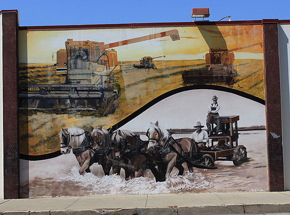 A telling mural on the wall in Gridley, memories of the old days of uncontrollable flooding.