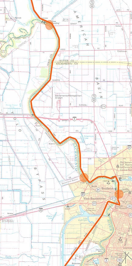 This map shows our route along the Garden Highway, with spots at Old Sacramento and the Sacramento Bypass.