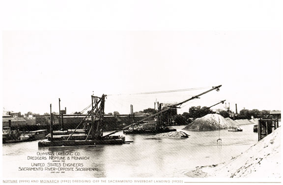 "In this 1930 image from ""The Tule Breakers"" you can see the dredges working to excavate sand and mining debris (still flowing down from the Gold Rush days)  from the channel of the Sacramento River."
