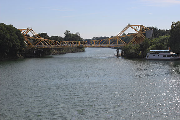 This is a view of Steamboat Slough entering the Sacramento River.