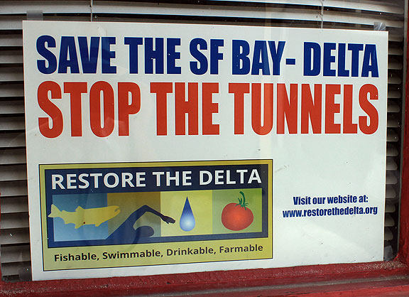 After the successful defeat of the Peripheral Canal in the early 1980s, agribusiness interests and southern California real estate interests have been working tirelessly to figure out another way to get fresh water from the north to the south. The Detla Tunnels are their latest scheme, with the enthusiastic support of Gov. Jerry Brown (ugh).