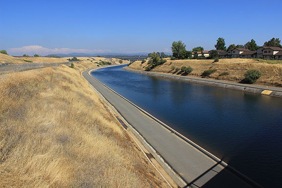 The Thermolito Forebay Diversion, downstream from the Fish Hatchery, using water from Lake Oroville.