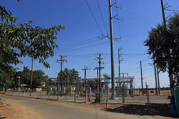 It's at the edge of the small town in a tiny crevice of this power substation, which was once the Durst Hop Ranch.
