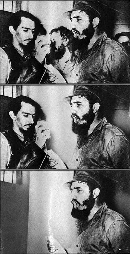 This is the sequence of photos on the cover of the book, illustrating how Carlos Franqui (middle back on top photo) was literally erased from Cuban history by Castro and the Communist Party.