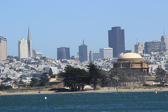Here's the Crissy Field beach and the Palace of Fine Arts with the towers of downtown looming behind...