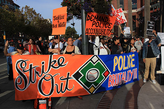 From Ferguson to San Francisco, justice for Mike Brown and Alex Nieto... great demonstration outside the playoff games at the Giants ballpark on Wednesday and Thursday.