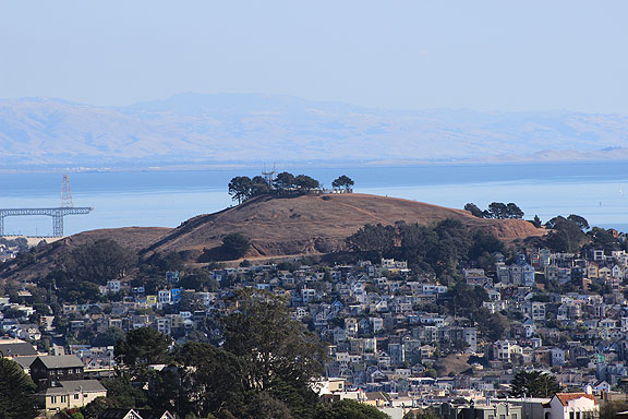 Here's a foreshortened view of Bernal Heights with Coyote Hills in the back right, 40 miles southeast.
