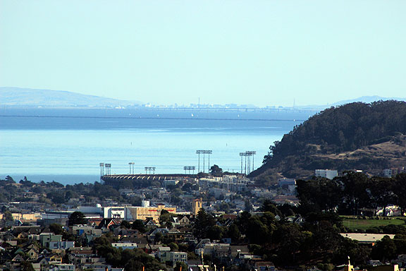 Candlestick Park, soon to be demolished, and in the far distance both San Mateo and Dumbarton bridges, and San Jose 65 miles south.