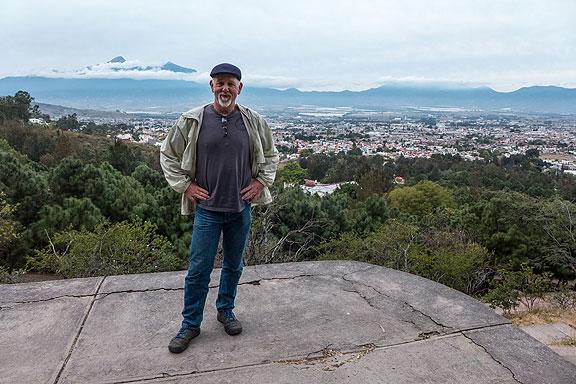 This is part of the way up the park's hillside above Ciudad Guzman, with the Nevado de Colima visible across the valley behind me, partly enshrouded with clouds.