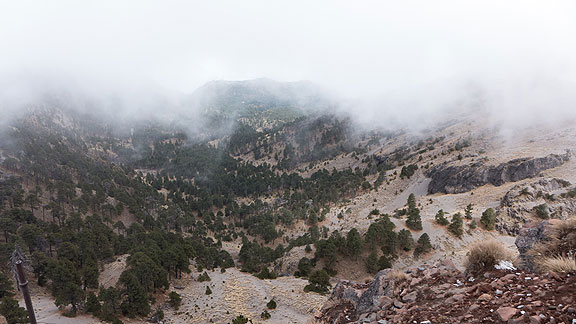 This is the view down into the ancient caldera.