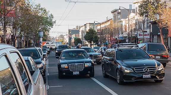 Even though San Francisco has enjoyed a boom in cycling, it's not thanks to the infrastructure, which still overwhelmingly favor the private automobile (and there is practically no enforcement along here).