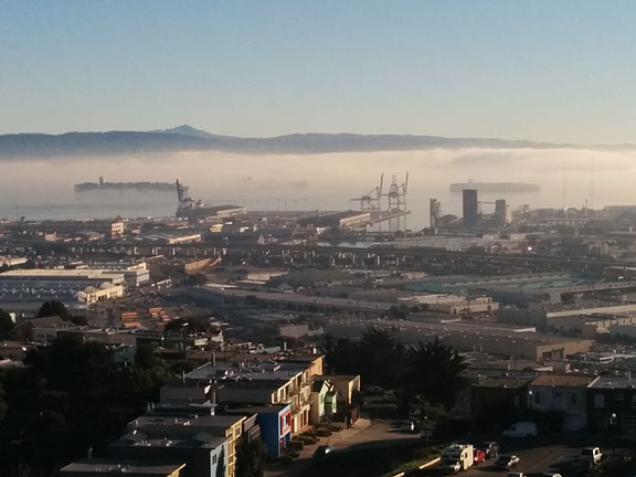 On my first back from vacation yesterday morning I went up Bernal Heights in bright sun to find that the bay was engulfed in low-lying fog. So beautiful! Here are some ships at anchor, emerging ghostly from the fog with Mt. Diablo in the far distance behind the Oakland hills.