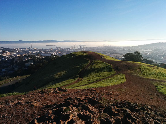 Longer shot of the first photo, looking east from the top of Bernal...