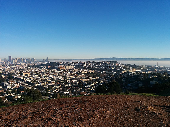Crispy morning in January, view from Bernal Heights.