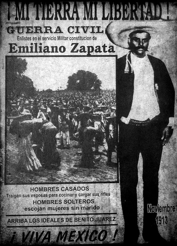 Zapata recruitment poster inside one of the places we visited... asking married men to bring their wives to cook for them and carry their rifles!