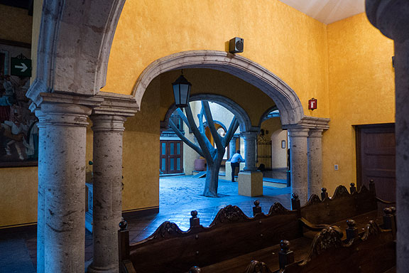 Inside the Cuervo facility I did come upon this eerily beautiful view from their chapel towards a blue courtyard.