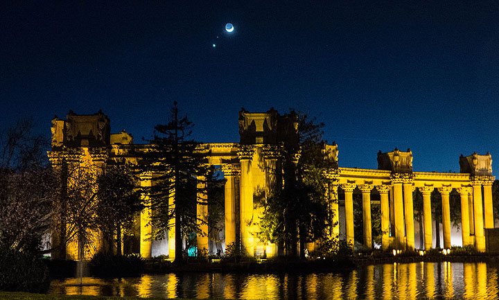 Moon, Venus, and Mars over Palace of Fine Arts on opening night of centennial celebration.